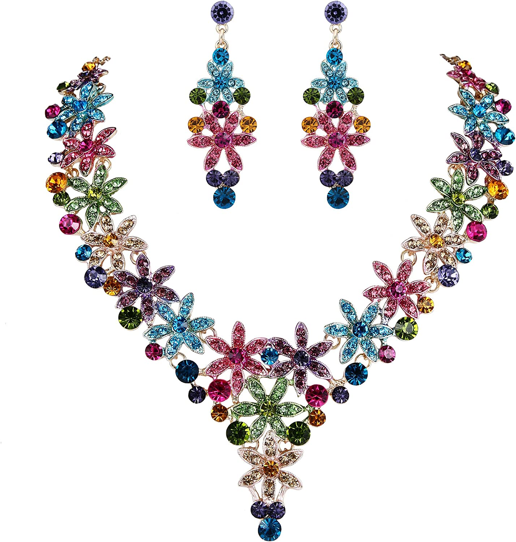EVER FAITH Austrian Crystal Enamel Party Flower Cluster Drop Necklace Earrings Set