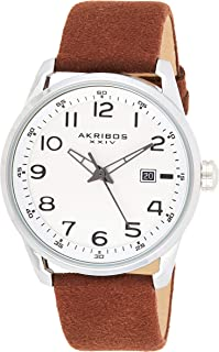 Akribos XXIV Men's Leather Watch AK1029– Casual Suede Designer Wristwatch – Classic Round Analog Quartz