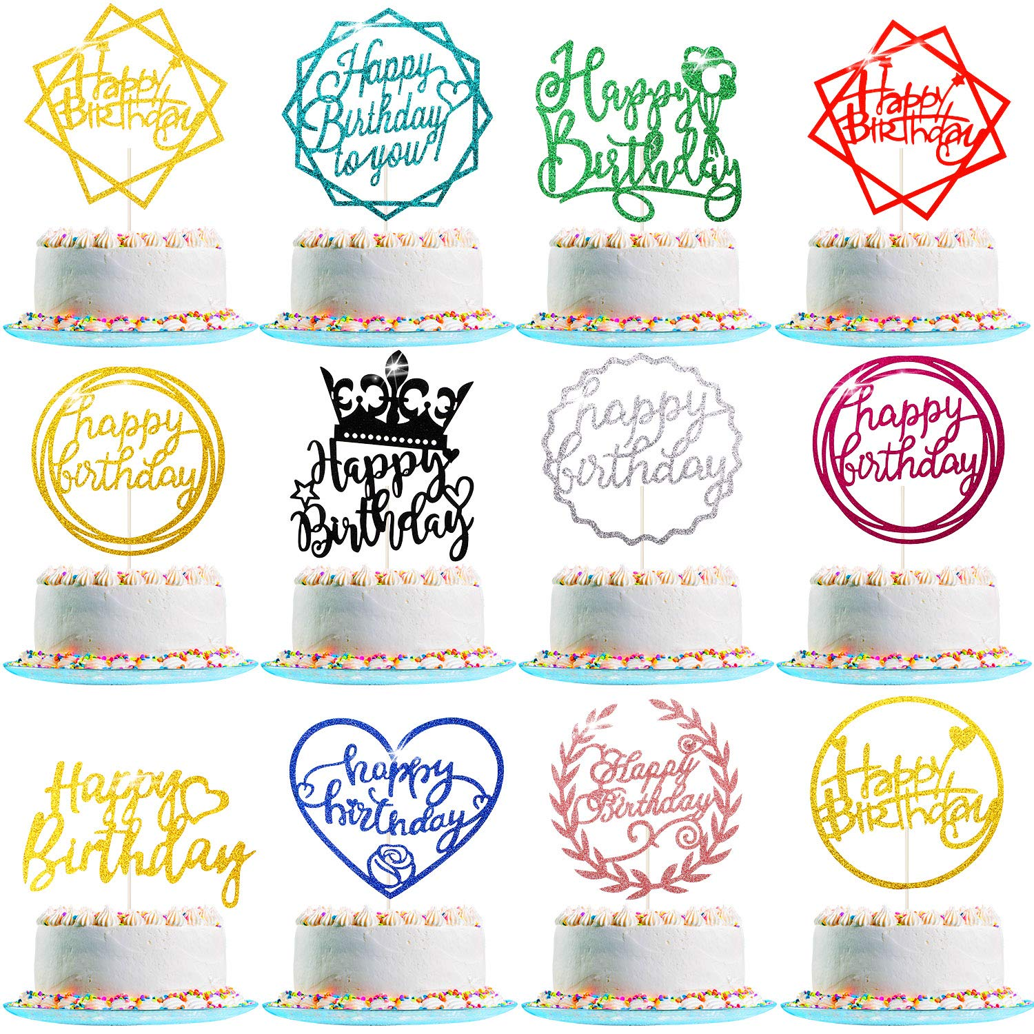 48 Pieces Glitter Birthday Cake To Topper Cupcake Happy Fashion Omaha Mall