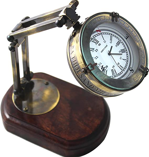 Antique Brown Table Decorative Wooden Base Clocks Marine