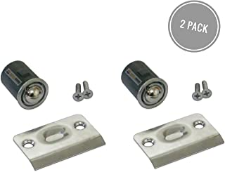 Qualihome Drive-in Closet Door Ball Catch, with Strike Plate (2 Pack Chrome)