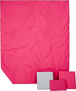 Baby Doll Bedding Solid Reversible Toddler Bedding, Hot Pink/Grey