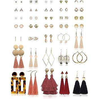 LANTAI Chic Triangle Circle Vertical Bar Dangle Earrings for Women and Girls Green Gold