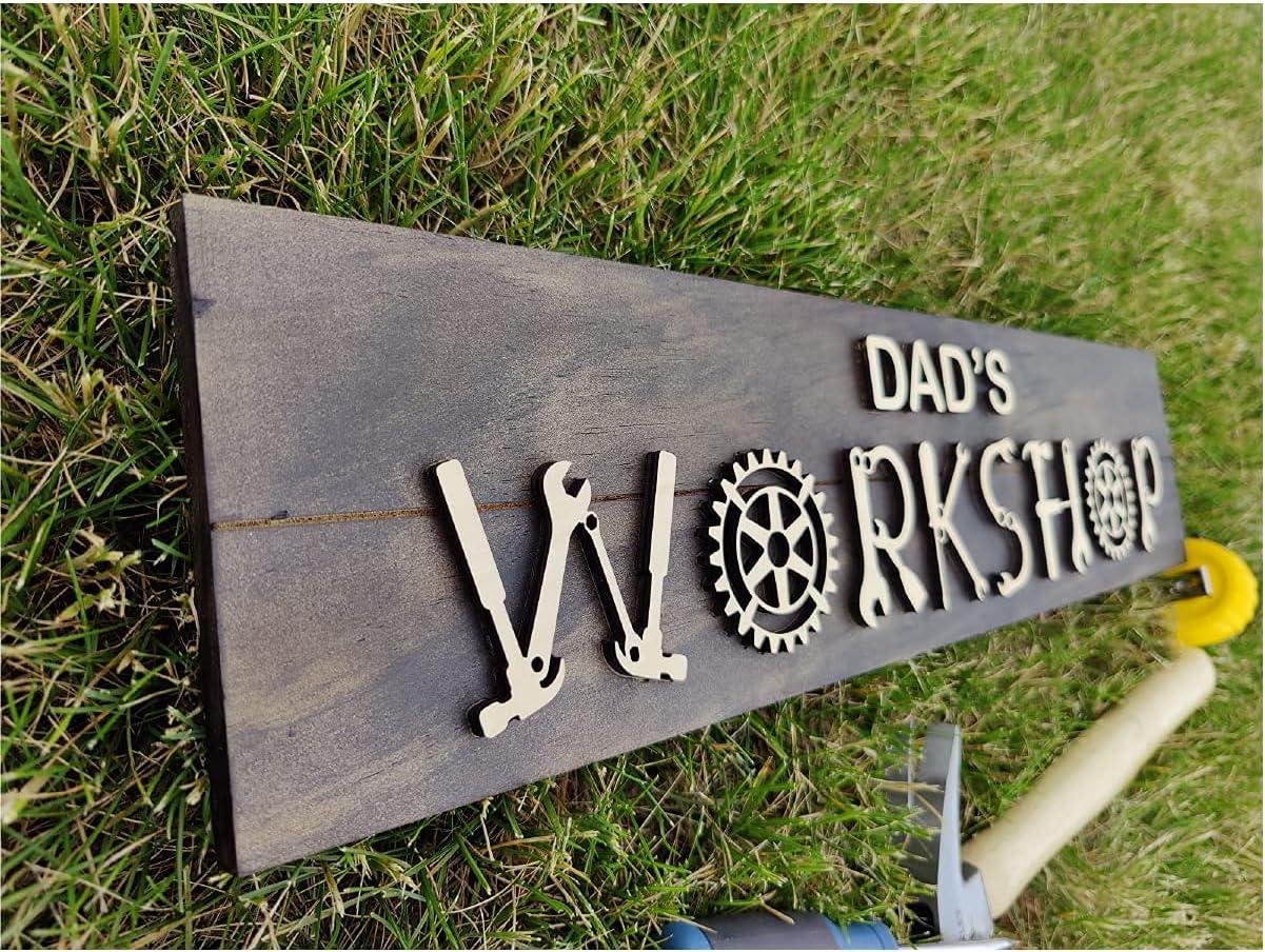 Max 65% Deluxe OFF BT Trendz Personalized Dad Workshop Sign dad x 24