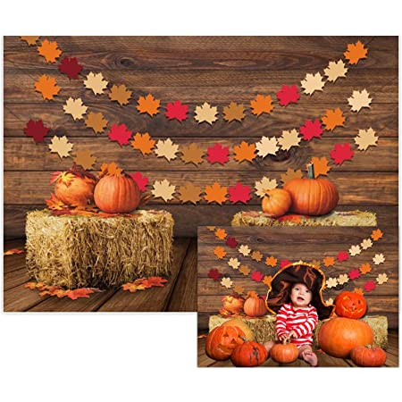 Laeacco 7x5FT Vinyl Photography Backdrop Thanksgiving Brown Stripe Wood Floor Autumn Pumpkin Fall Trees Scene Photo Background Children Baby Adults Portraits Backdrop