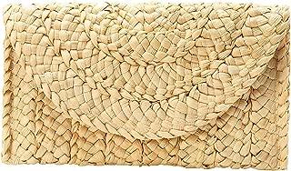 Kusmy Straw Clutch Handbag, Summer Evening Beach Purse Woven Envelope Bag for Women