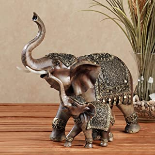 Touch of Class Nurturing Embellished Elephant Sculpture Brown
