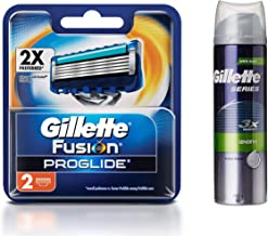 Gillette Fusion Proglide Flex Ball Manual Shaving Razor Blades - 2 Cartridges & Series 3x Protection Sensitive Shave Foam with Aloe - 245 g Combo