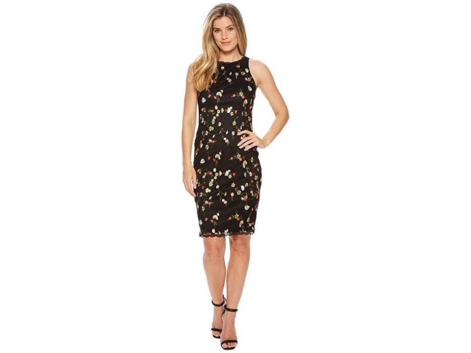 Adrianna Papell Diana Floral Embroidery Sheath (Black Multi) Women