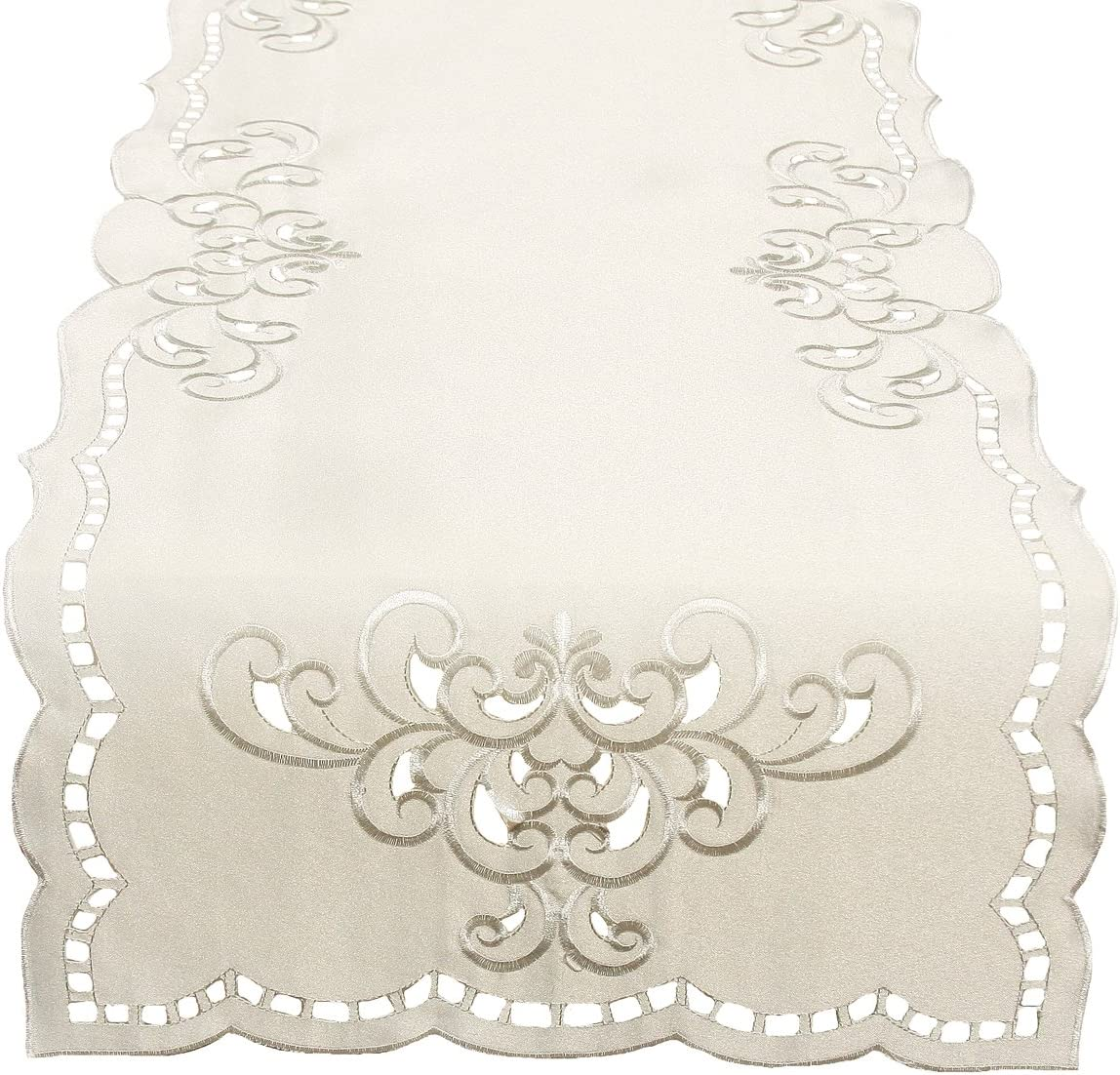Xia Daily bargain sale Luxury goods Home Fashions Hampton Embroidered b Table Runner Cutwork 15