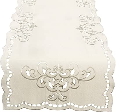 Xia Home Fashions XD171441636Beige Wilshire Embroidered Cutwork Table Runner 16 by 36 Beige
