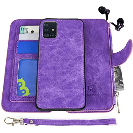 MODOS LOGICOS Case Compatible with Samsung Galaxy A71 5G, [Detachable Wallet Folio][Zipper Cash Storage][14 Card Slots 1 Photo Window] PU Leather Purse with Removable Inner Magnetic TPU Case - Purple
