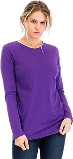 NANAVA Casual Cotton Crew Neck Long Sleeve T-Shirt Top Purple 3X