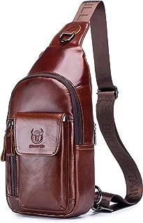 Men's Shoulder Bag, Popoti Sling Bag Backpack Leather Chest Bag Daypack Handbag Crossbody Messenger Bags Outdoor Hiking Travel Sports Bag 17cm (Coffee)