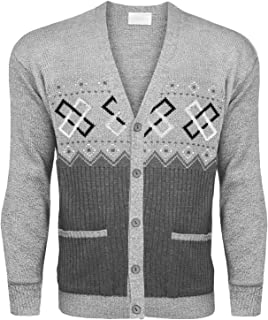 Mens Classic Button Cardigan Argyle Knitwear Granddad Aztec Two Front Pockets TOP