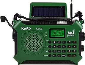كايتو KA700 بلوتوث في حالات الطوارئ Hand Crank Dynamo & Solar Powered AM FM Weather راديو NOAA مع مسجل ومشغل MP3 - تصميم متين للتنزه والتخييم ومغامرات الإنشاء، إلخ. (أخضر)