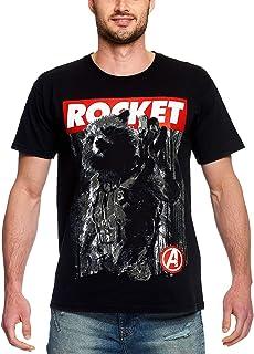 Camiseta Avengers para Hombre Rocket Raccoon Endgame Marvel Cotton Black
