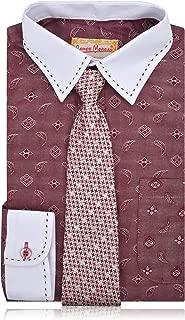 JAMES MORGAN Boys Burgundy Paisley Dress Shirt with Hawnstooth Tie - Sizes 8-20
