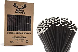 Mega Moose Biodegradable Paper Straws - 200 ct. Black Paper Cocktail Straws with Ultra Compost - Bulk Paper Straws for Mixed Drinks, Weddings, Restaurant, Food Service, Drink Stirrer, Stir Stick