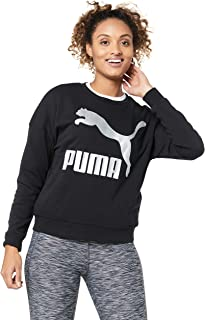 PUMA Women's Classics Logo Crew, Cotton Black/Metallic