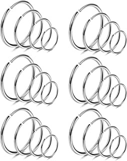 18-24Pcs 20G 316L Stainless Steel Nose Ring Hoop Cartilage Hoop Septum Piercing 6-12mm