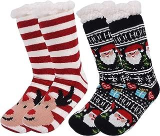 Women's Slipper Socks - Women's Winter Snowflake Fleece Lining Knit Christmas Knee Highs Stockings Slipper Socks