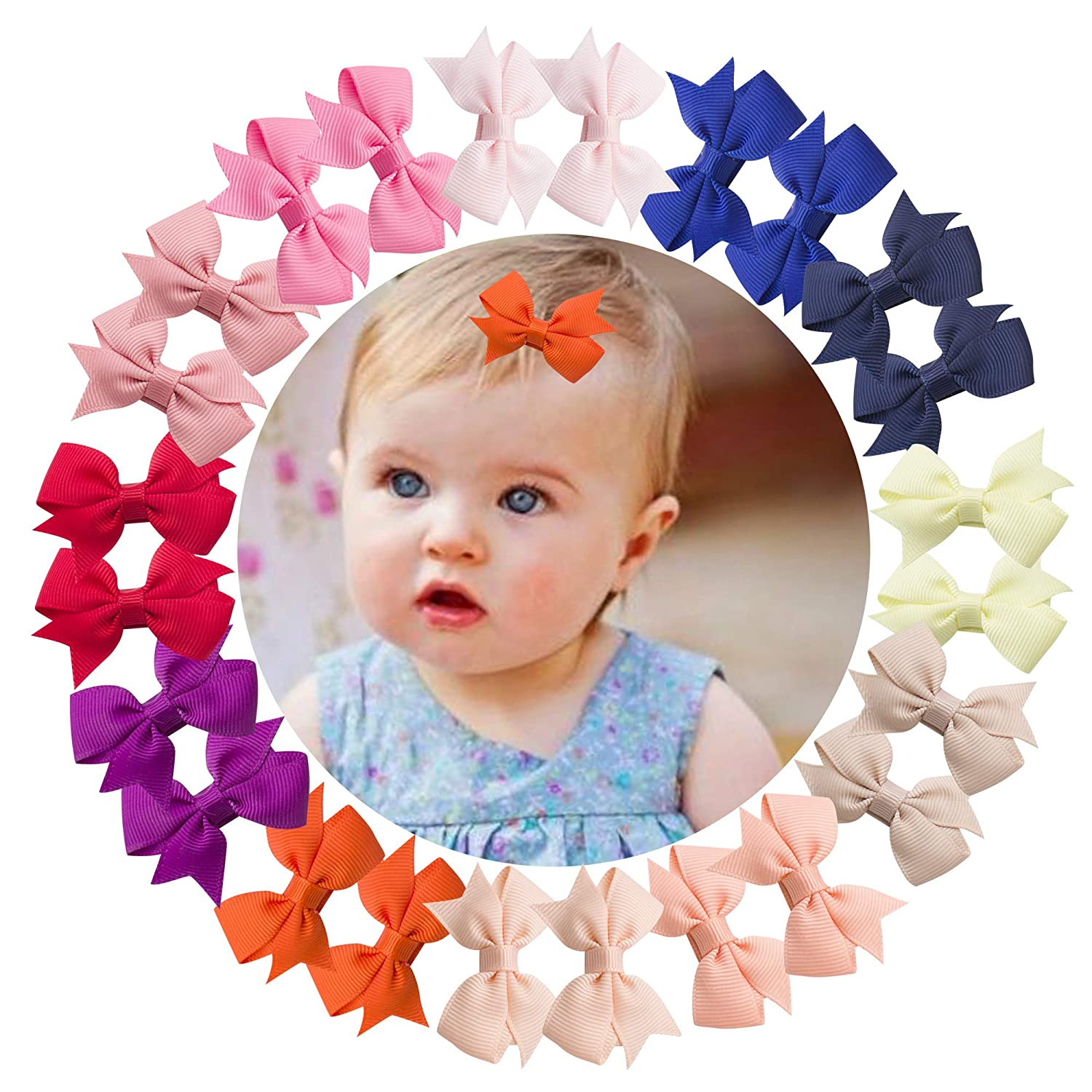 VINOBOW 24Piece 2 Inch Pigtail Pinwheel Hair Bows Girls Fully Ribbon Covered Clips For Baby Girls Toddlers Kids