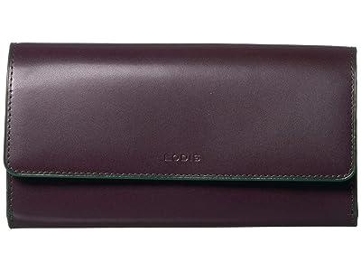 Lodis Accessories Audrey RFID Checkbook Clutch (Deep Plum/Ivy) Wallet Handbags