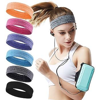 QiShang Workout sweatbands for Women Head,Sport Hair Bands for Women's Hair Non Slip,Moisture Wicking Headband for Running