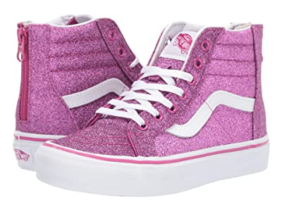 Vans Kids Sk8-Hi Zip (Little Kid/Big Kid) ((Glitter Textile) Pink/True White) Girls Shoes