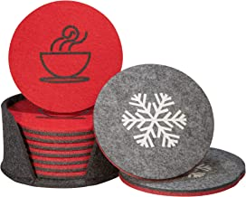 KitDraw Double Sided Felt Coaster 8-piece Set with Holder l Drinks Absorbent Coasters to Protect Home and Office Furniture from Water Marks l Unique Home Decor Gift for House Warming, Friends, Party
