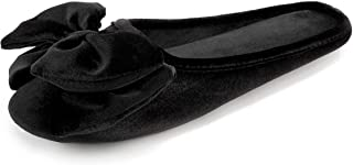 BCTEX COLL Women's Velvet Ballerina Slippers with Memory Foam,Lady's Cute Lightweight Bow House Shoes Non-Slip Indoor Outdoor