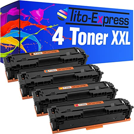 Tito Express Platinumserie 4 Toner Für Hp Cf540a Cf543a Color Laserjet Pro M 254 Dnw Mfp M 281 Fw 281 Fdw Bürobedarf Schreibwaren