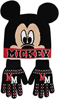 Disney Little Boys Mickey Mouse Hat and Gloves Cold, Black, Red, Size Age 4-7