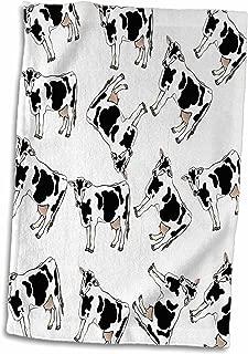3D Rose Print of Cartoon Cow Toss Pattern Hand Towel, 15