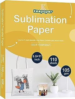 Keepaper - Papel de sublimación (A4, 20,3 x 27,4 cm, 110 hojas para cualquier impresora de inyección de tinta Epson HP Can...