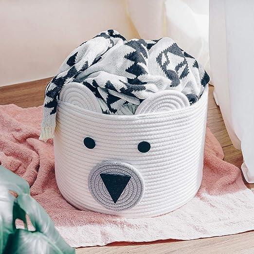 gewebter W/äschekorb CherryNow B/är-Korb x 30,5 cm T Gray Bear 25,4 cm Baumwollseil Kleidung im Schlafzimmer H Babyzimmer und Wohnzimmer Spielzeug-Aufbewahrungskorb f/ür Kinder