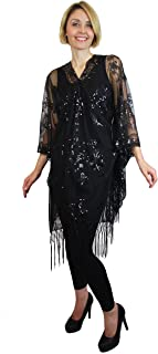 Womens Mother of The Bride Beaded Fashion Shawl Tunic Poncho Cover up Top