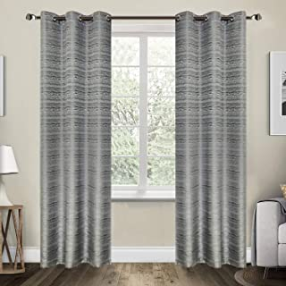 38 Inch Width by 84 Inch Length Set of 2 Half Blackout Darkening Thermal Insulated Window Panels Grommet for Bedroom and Living Room Jacquard Drapes Curtain Panels Grey Ivory and Coffee (Grey)