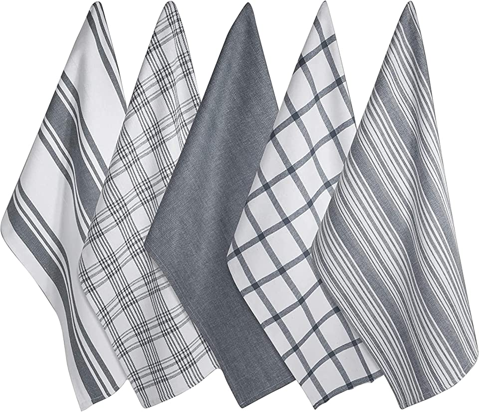 Bravo e Brava Kitchen Tea Towels Set of 5 |– Professional Grade Cotton 45 x 70 cm | Kitchen Towel Super Absorbent and Fast Drying | Machine Washable for Everyday Use (Grey) (Cotton Culture Towels)