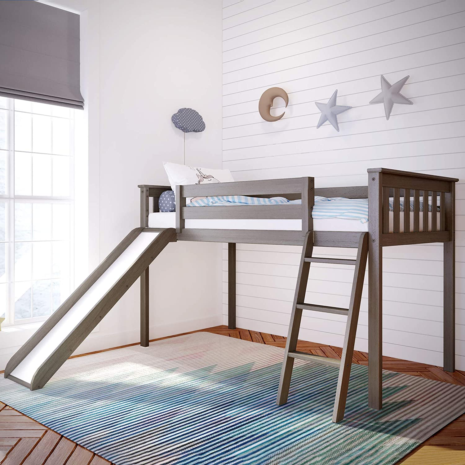 Max & Lily Solid Wood Twin-Size Low Loft Bed with Slide, Clay