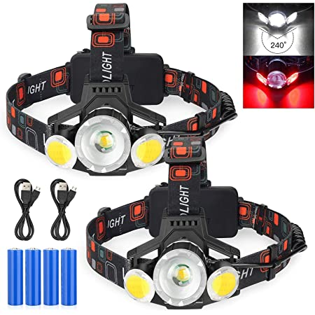 Details about  /350000LM COB USB Rechargeable Headlamp Headlight 8-Modes LED Head Torch