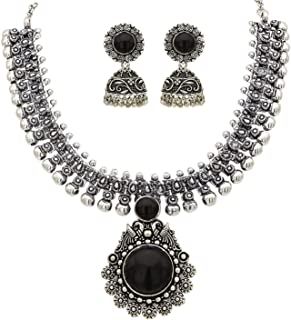 Yellow Chimes Oxidized Silver Kolhapuri Necklace Set With Jhumka Earrings Jewellery Set for Women (Oxidized Silver, Black)...