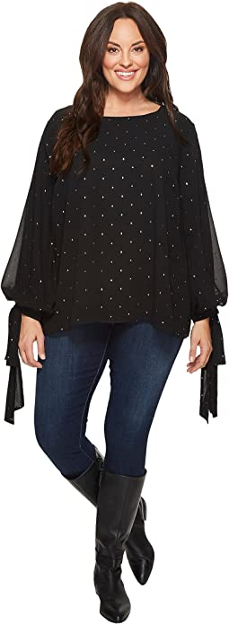 Vince Camuto Specialty Size - Plus Size Gilded Diamonds Tie Cuff Bubble Sleeve Blouse