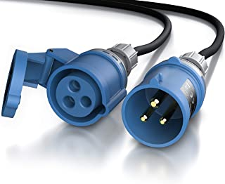 Brandson - 5 m CEE Extension Cable - 3-pin 230 V 16 A - CEE Plug & CEE Coupling - IP44 - with Protective Cap - Extension C...