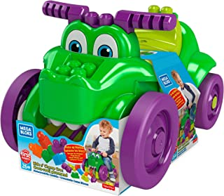 Mega Bloks First Builders Ride 'n Chomp Croc with Big Building Blocks, Building Toys for Toddlers (26 Pieces) GFG22