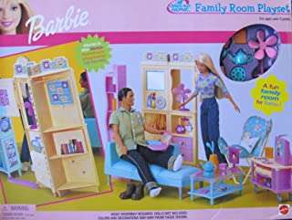 BARBIE All Around Home FAMILY ROOM Playset w SHELVES, COUCH, Chair, Pretend TV & STAND & Lots MORE (2000)