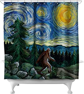Lantern Press Northwest - Van Gogh Starry Night - Bigfoot 81018 (74x74 Polyester Shower Curtain)