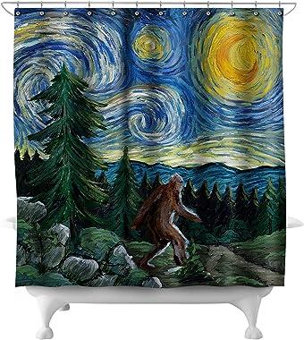 Lantern Press Northwest - Van Gogh Starry Night - Bigfoot 81018 (74x74 Polyester Shower Curtain)