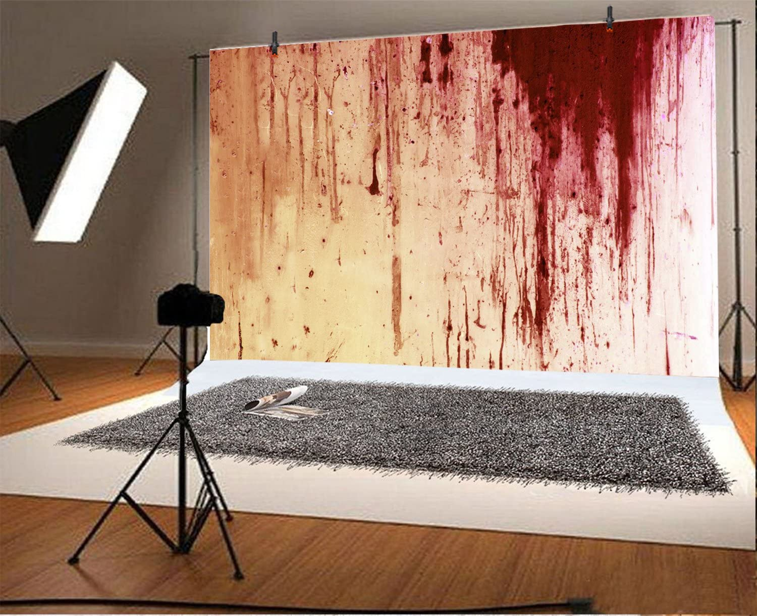 Leowefowa Halloween Bloody White Wall Backdrop 8x6ft Vinyl Photography Backgroud Huanted House Creepy Spooky Party Wizard Magic Zombie Revive Scary Night